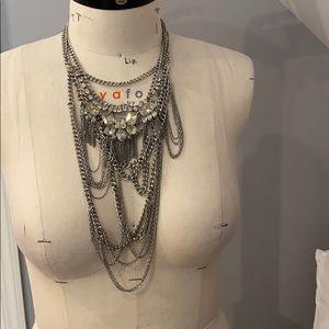Bcbg generation layered fringe statement necklace